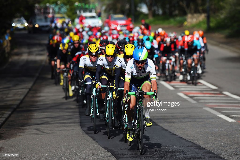 The peloton rides through Yorkshire during the second stage of the 2016 Tour de Yorkshire between Otley and Doncaster on April 30, 2016 in Doncaster, England.