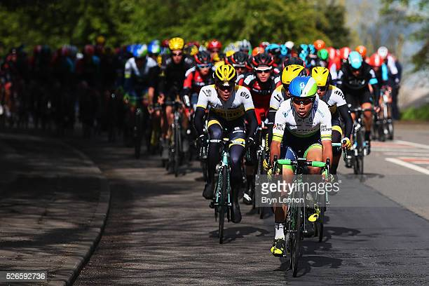 The peloton rides through Yorkshire during the second stage of the 2016 Tour de Yorkshire between Otley and Doncaster on April 30 2016 in Doncaster...