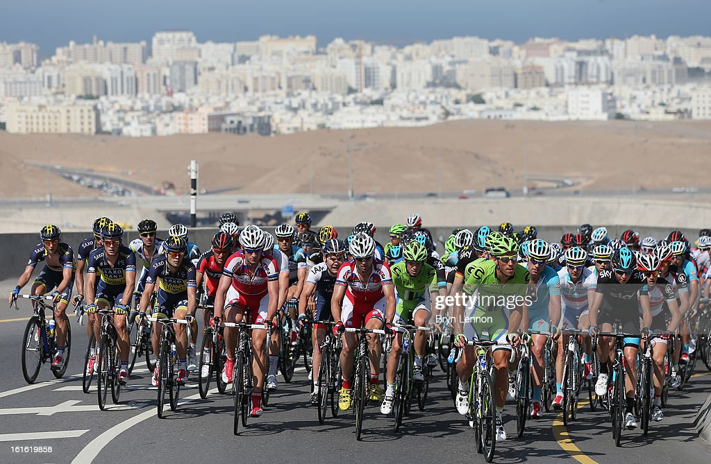 The peloton rides up the climb of Bousher Alamrat on stage three of the 2013 Tour of Oman from Nakhal Fort to Wadi Dayqah Dam on February 13, 2013 in Wadi Dayqah Dam, Oman.