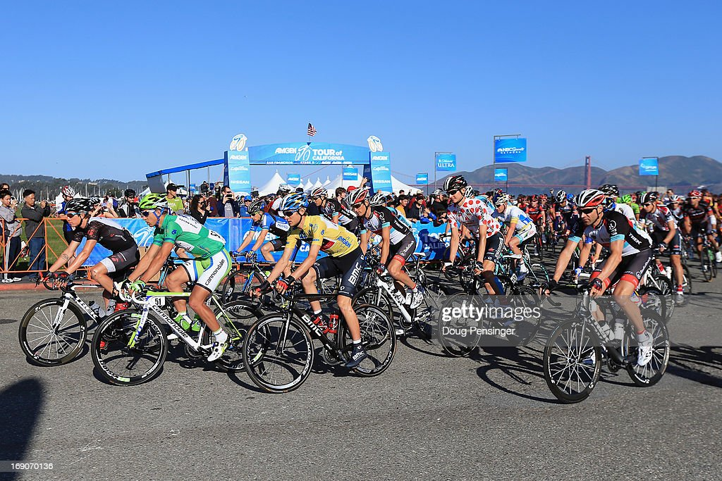 The peloton rolls away from the start of Stage Eight of the 2013 Amgen Tour of California from San Francisco to Santa Rosa on May 19, 2013 in San Francisco, California.