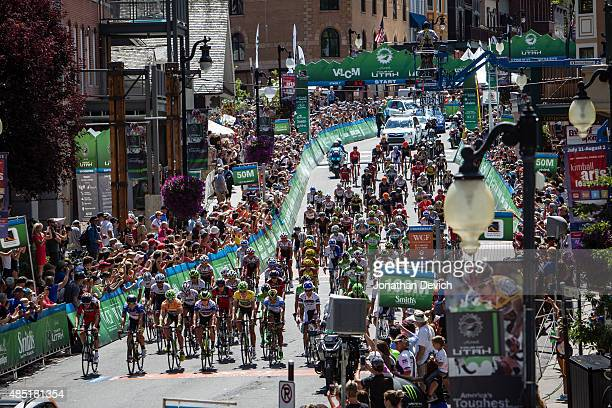 The peloton rolls out of Park City after the start of stage 7 of the Tour of Utah on August 9 2015 in Park City Utah