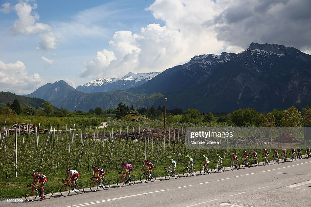 The peloton threads its way through spectacular scenery during stage two of the Giro del Trentino from Limone sul Garda to San Giacomo di Brentonico on April 23, 2014 in San Giacomo di Brentonico, Italy.