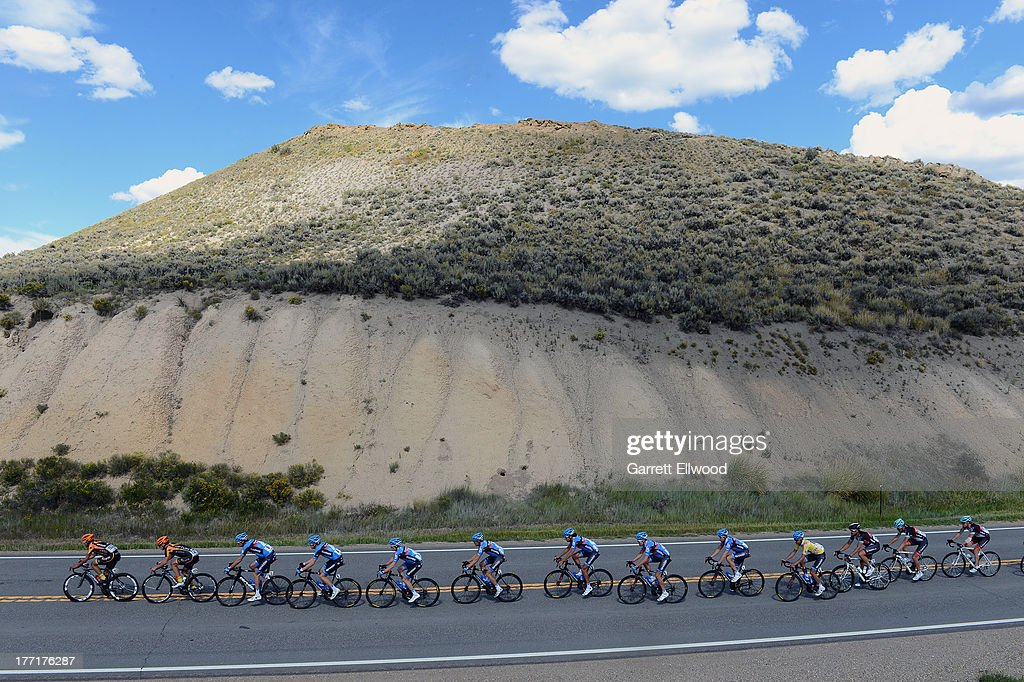 The peloton travels between Breckenridge and Steamboat Springs during Stage Three of the USA Pro Cycling Challenge on August 21, 2013 in Steamboat Springs, Colorado.