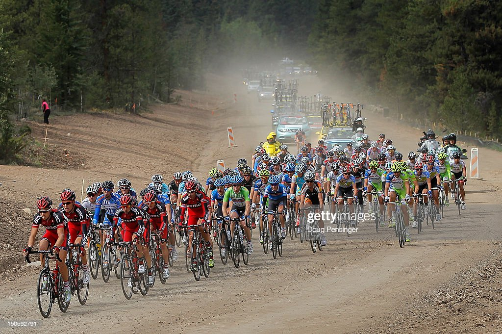 The peloton travels through a construction area on a dirt road during stage three of the USA Pro Challenge from Gunnison to Aspen on August 22, 2012 in Almont, Colorado.