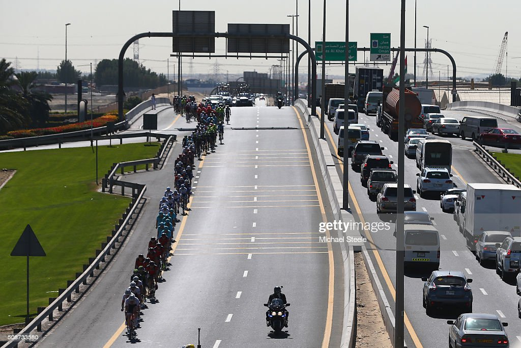 The peloton weaves its way during the Business Bay Stage Four of the Tour of Dubai on February 6, 2016 in Dubai, United Arab Emirates.