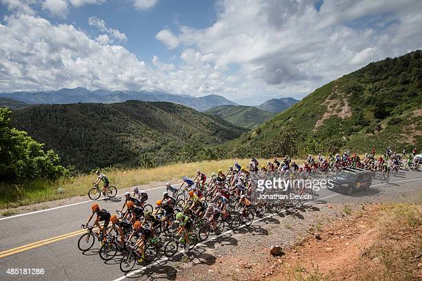 The peloton works its way up a climb during stage 6 of the Tour of Utah on August 8 2015 in Salt Lake City Utah