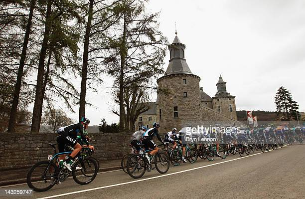 The pelton climbs a hill on the way to Bastogne during the 98th LiegeBastogneLiege cycle road race on April 22 2012 in Liege Belgium
