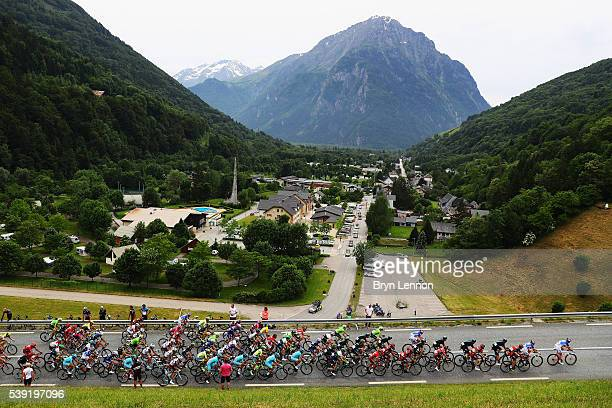 The pelton make it's way through the Alps during stage five of the 2016 Criterium du Dauphine a 140km stage from La Ravoire to Vaujany on June 10...