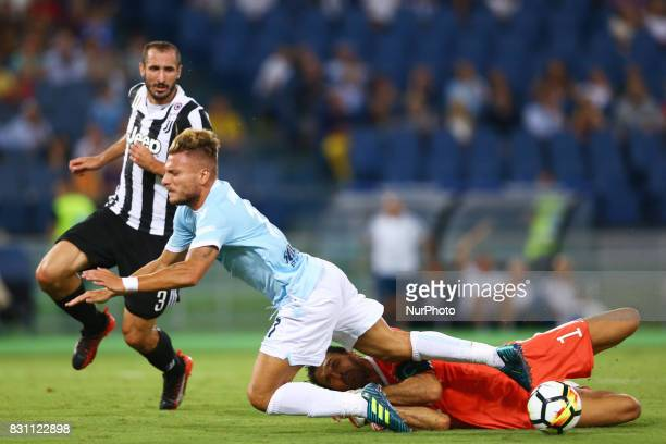 The penalty foul by Gianluigi Buffon of Juventus on Ciro Immobile of Lazio during the Italian Supercup match between Juventus and SS Lazio at Stadio...