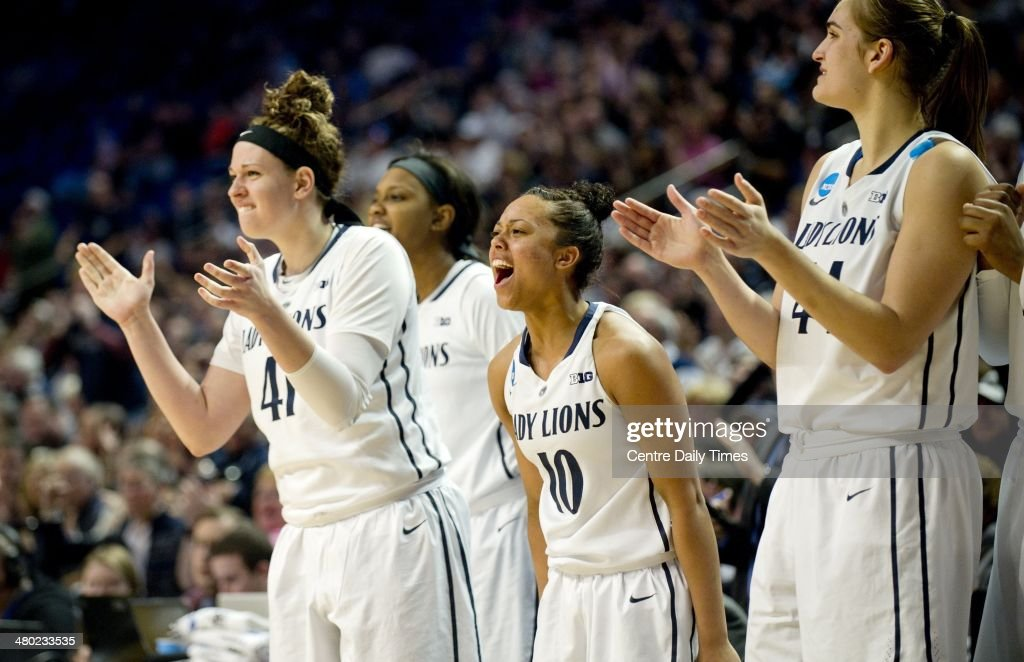 The Penn State Lady Lion bench cheers after a basket against the Wichita State Shockers at the Bryce Jordan Center in State College, Pa., on Sunday, March 23, 2014. Penn State won, 62-56, in the first round of the women's NCAA Tournament.