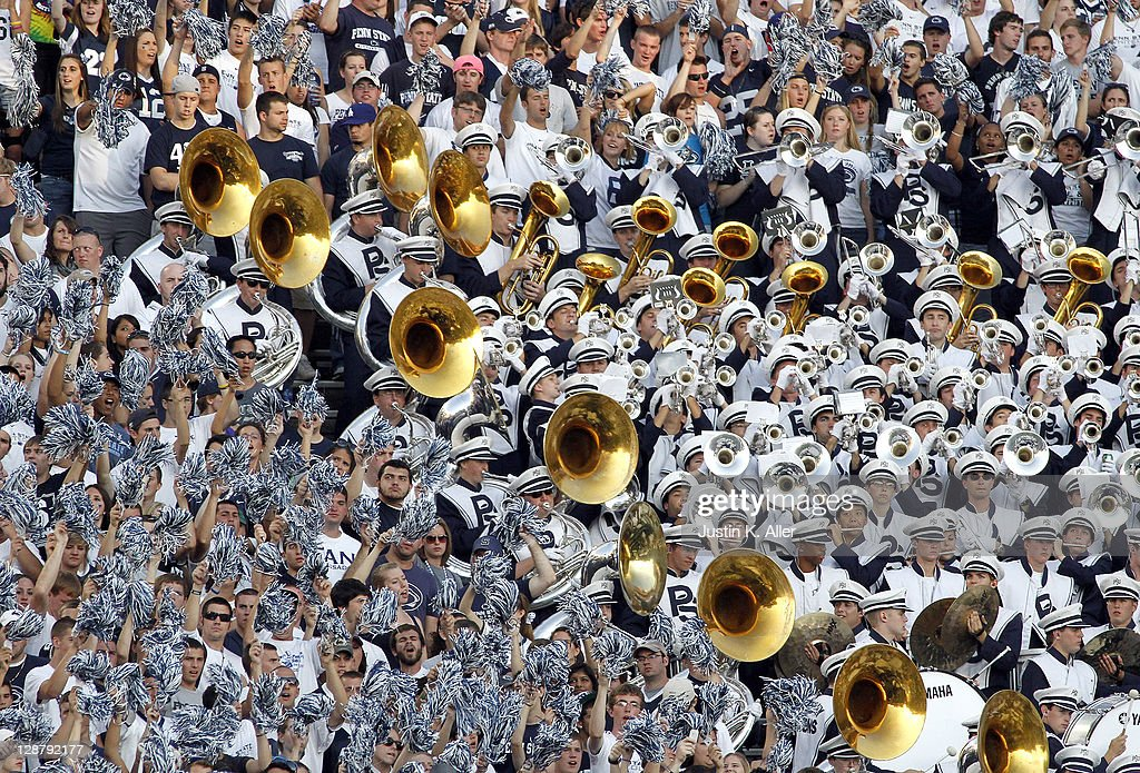 The Penn State Nittany Lion band and students cheer against the Iowa Hawkeyes during the game on October 8, 2011 at Beaver Stadium in State College, Pennsylvania. The Lions defeated the Hawkeyes 13-3.