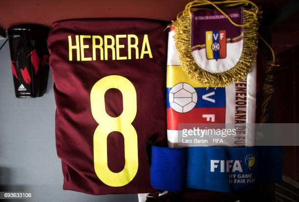 The pennant of Venezuela and the jersey of Yangel Herrera of Venezuela are seen in the dressing room prior to the FIFA U20 World Cup Korea Republic...