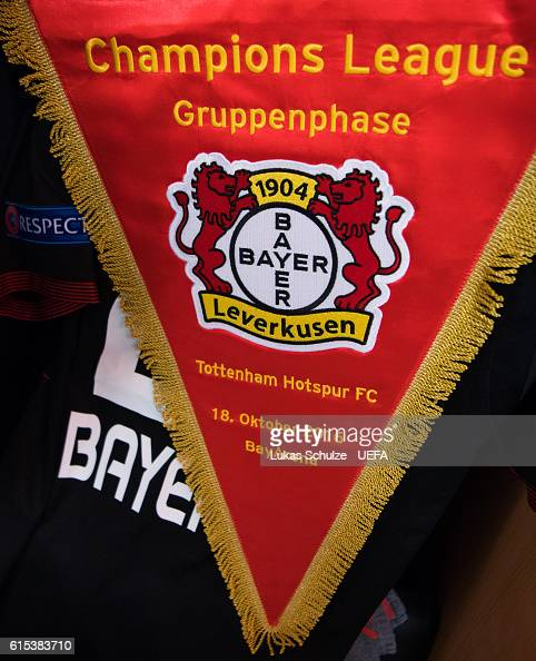 The pennon of Leverkusen is seen in their dressing room prior to the UEFA Champions League match between Bayer 04 Leverkusen and Tottenham Hotspur FC...