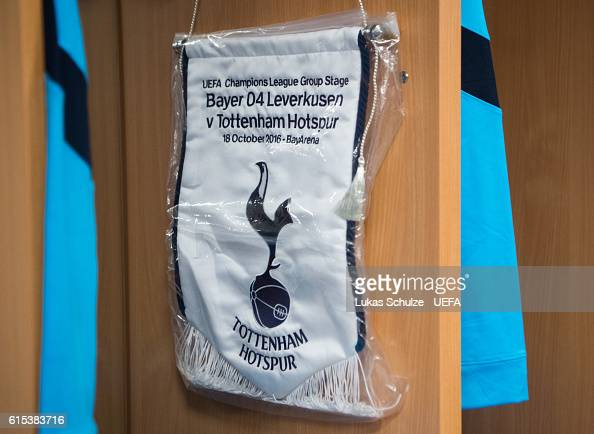 The pennon of Tottenham is seen in their dressing room prior to the UEFA Champions League match between Bayer 04 Leverkusen and Tottenham Hotspur FC...
