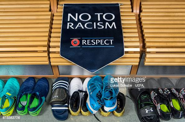 The pennon of UEFA with 'No to racism' is seen in the dressing room prior to the UEFA Champions League match between Bayer 04 Leverkusen and...