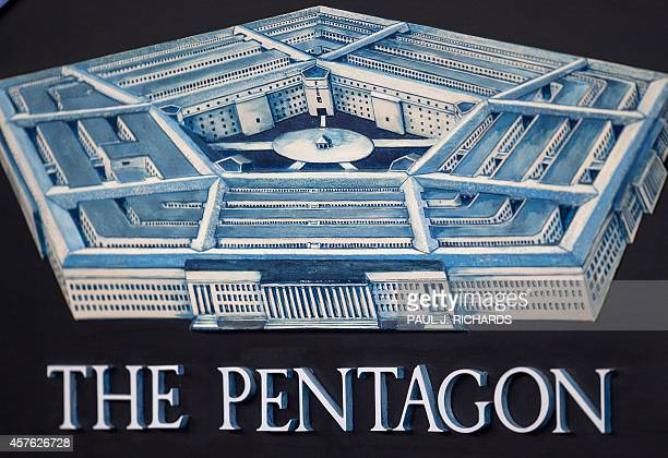 The Pentagon logo seen during a media briefing October 21 in the Press Room of the Pentagon in Washington AFP PHOTO/Paul J Richards