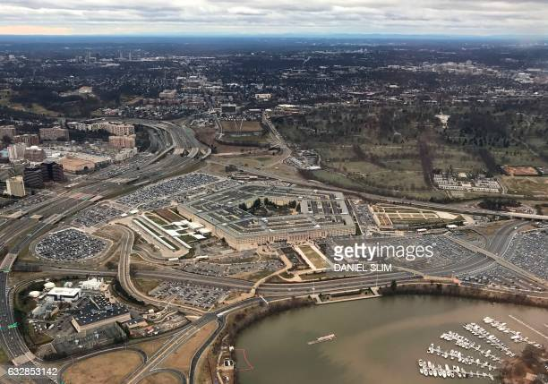 The Pentagon the headquarters of the US Department of Defense located in Arlington County across the Potomac River from Washington DC is seen from...