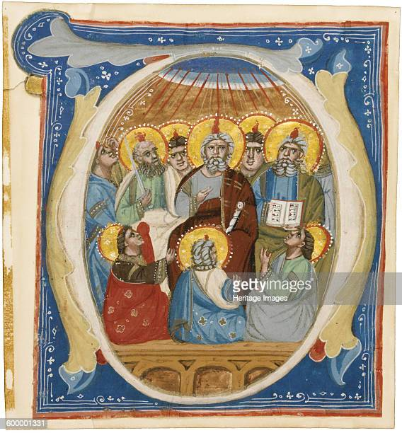 The Pentecost Initial O from an Antiphoner ca 1320 Private Collection Artist Anonymous
