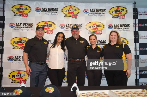 The Penzoil Team poses for a photo announce the new sponsorship and Pennzoil 400 race for 2018 at LVMS on Stratosphere Pole Day for the Kobalt 400...