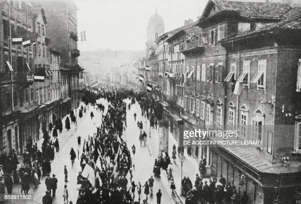The people of Rijeka manifestating for the arrival of the Italian Naval Team Croatia World War I from l'Illustrazione Italiana Year XLV No 46...
