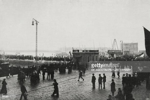 The people of Rijeka saluting the arrival of the Italian Naval Team Croatia World War I from l'Illustrazione Italiana Year XLV No 46 November 17 1918