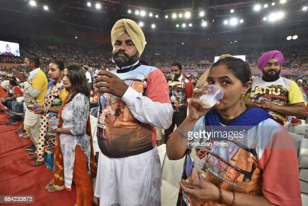The people take part in the Cow Milk Party organized by Baba Ram Rahim ji Insaan during the Cow Milk Party to appeal Prime Minister Narendra Modi to...