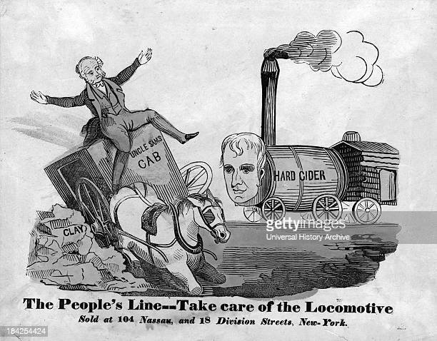 The People's Line a political poster image from 1840 satirizing Incumbent President Martin Van Buren Whig presidential candidate William Henry...