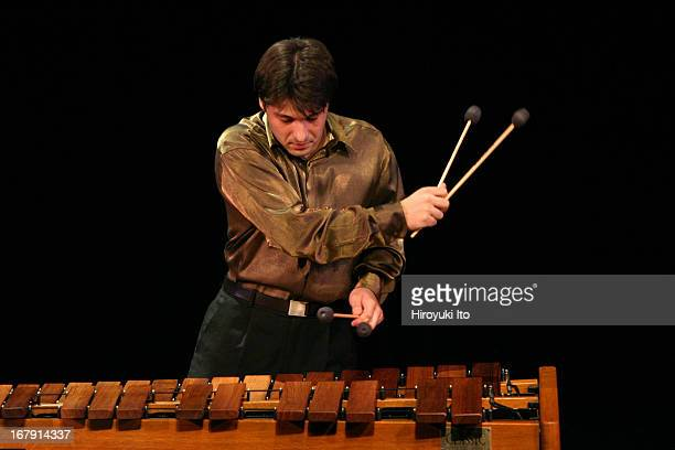 The percussionist Svet Stoyanov performing solo recital at the Schimmel Center on Monday night July 25 2005This imageSvet Stoyanov plays marimba in...