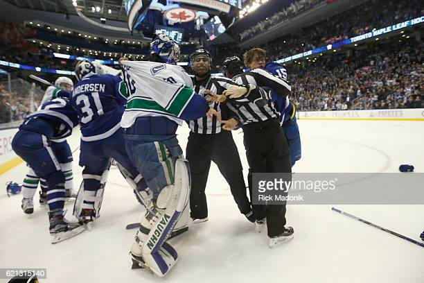 The period was littered with fights even attracting Vancouver Canucks goalie Ryan Miller into a skirmish and drawing a penalty for 3rd man in Toronto...