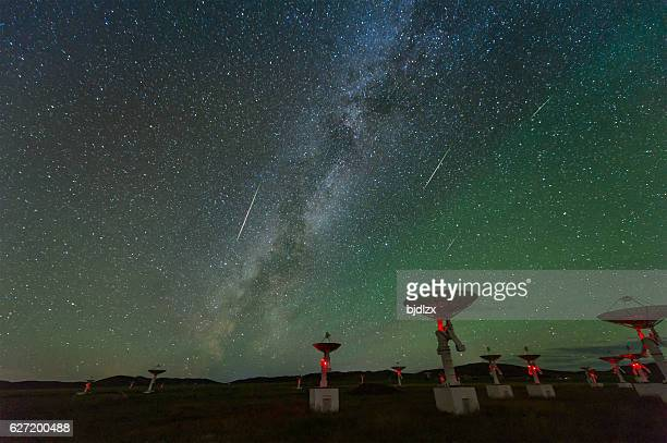The Perseid meteor shower over the satellite receiving station