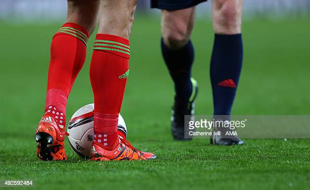 The personalised Adidas boots of Gareth Bale of Wales during the UEFA EURO 2016 Qualifier match between Wales and Andorra at Cardiff City Stadium on...