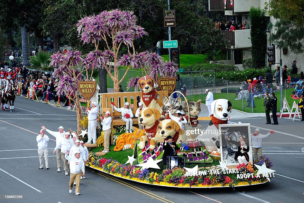 The Pet Care Foundation's 'Follow the Stars...Adopt a Pet' float participates in the 124th annual Rose Parade themed 'Oh, the Places You'll Go!' on January 1, 2013 in Pasadena, California.