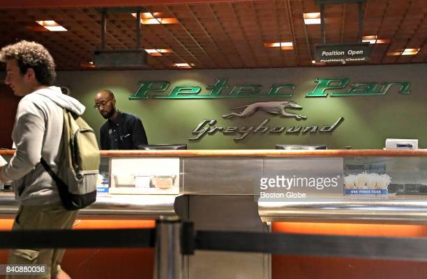 The Peter Pan and Greyhound ticket counter at South Station in Boston is pictured on Aug 29 2017 Greyhound Lines the nations largest bus carrier and...