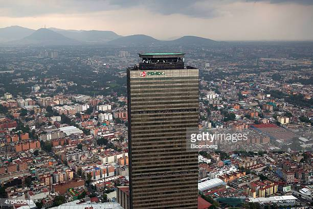 The Petroleos Mexicanos headquarters building stands during a Red Wings Co TuriSky helicopter tour of Mexico City Mexico on Friday May 22 2015 Red...
