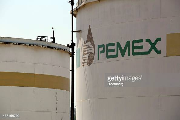 The Petroleos Mexicanos logo is displayed on a storage tank at the company's Miguel Hidalgo Refinery in Tula de Allende Mexico on Thursday March 6...