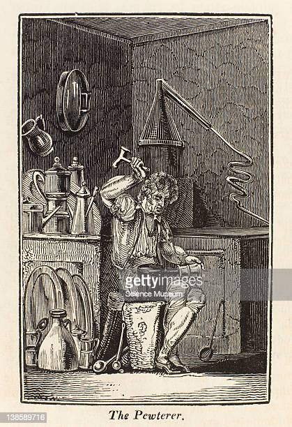 The Pewterer is a person who makes plates dishes pots syringes funnels worms for stills and a variety of other articles of pewter