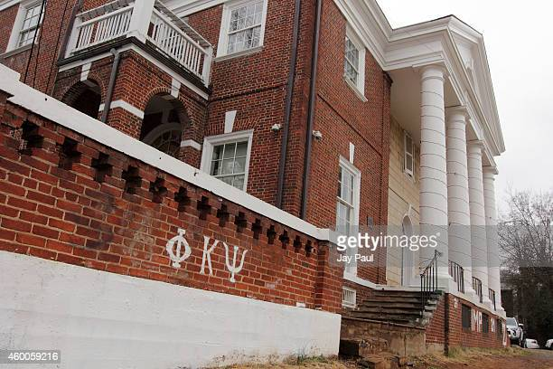 The Phi Kappa Psi fraternity house is seen on the University of Virginia campus on December 6 2014 in Charlottesville Virginia On Friday Rolling...