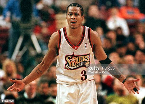 The Philadelphia 76ers' Allen Iverson looks in astonishment towards the official who called a defensive foul against him in the second period 14...