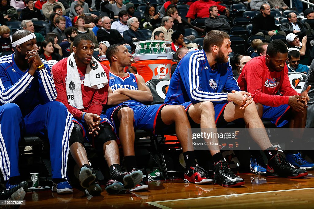 The Philadelphia 76ers bench looks on in the final minutes of their 107-96 loss to the Atlanta Hawks at Philips Arena on March 6, 2013 in Atlanta, Georgia.