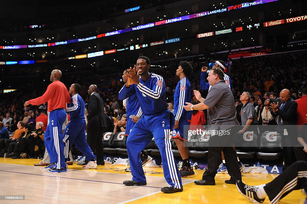 The Philadelphia 76ers celebrate during their game against the Los Angeles Lakers at Staples Center on January 1, 2013 in Los Angeles, California.