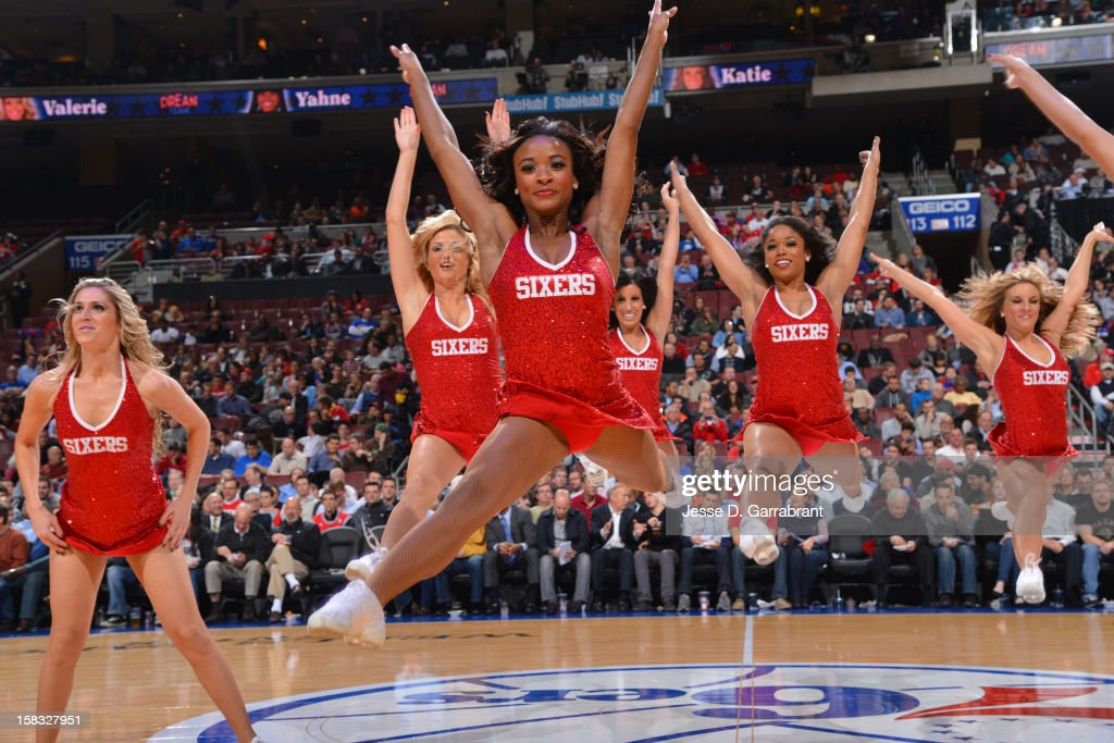 The Philadelphia 76ers dance team during the game against the Chicago Bulls on December 12, 2012 at the Wells Fargo Center in Philadelphia, Pennsylvania.