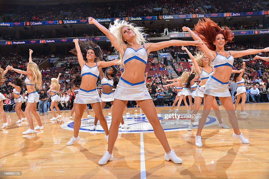 The Philadelphia 76ers dance team entertains the crowd during the game against the Cleveland Cavaliers at the Wells Fargo Center on November 18, 2012 in Philadelphia, Pennsylvania.