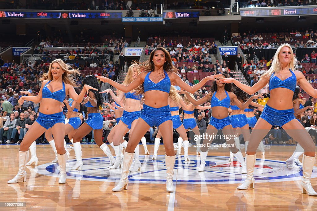 The Philadelphia 76ers dance team performs at halftime in the game against the New Orleans Hornets at the Wells Fargo Center on January 15, 2013 in Philadelphia, Pennsylvania.