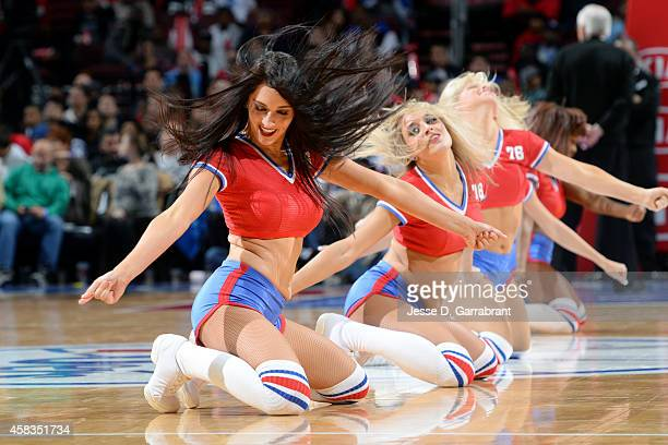 The Philadelphia 76ers dance team performs during a game against the Houston Rockets on November 3 2014 at the Wells Fargo Center in Philadelphia...