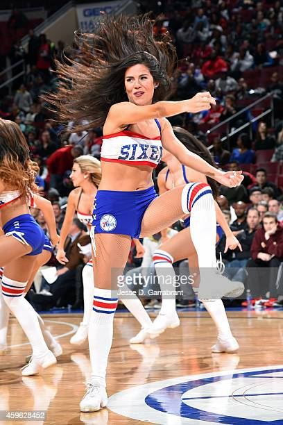 The Philadelphia 76ers dance team performs during a game against the Brooklyn Nets on November 26 2014 at Wells Fargo Center in Philadelphia PA NOTE...