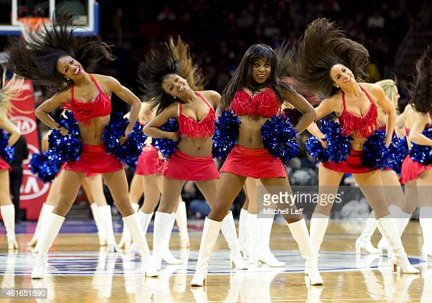 The Philadelphia 76ers dance team performs during a timeout in the game against the New Orleans Pelicans on January 16 2015 at the Wells Fargo Center...