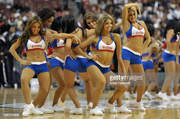 The Philadelphia 76ers Dance Team performs during the game against the Miami Heat at the Wells Fargo Center on October 27 2010 in Philadelphia...
