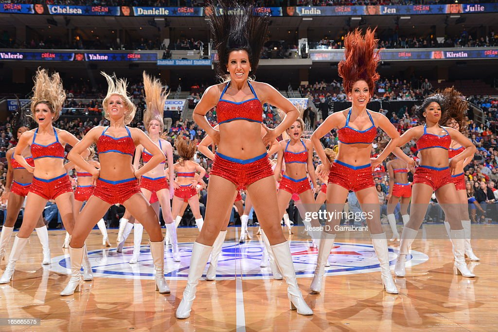 The Philadelphia 76ers dance team performs during the game against the Indiana Pacers at the Wells Fargo Center on March 16, 2013 in Philadelphia, Pennsylvania.