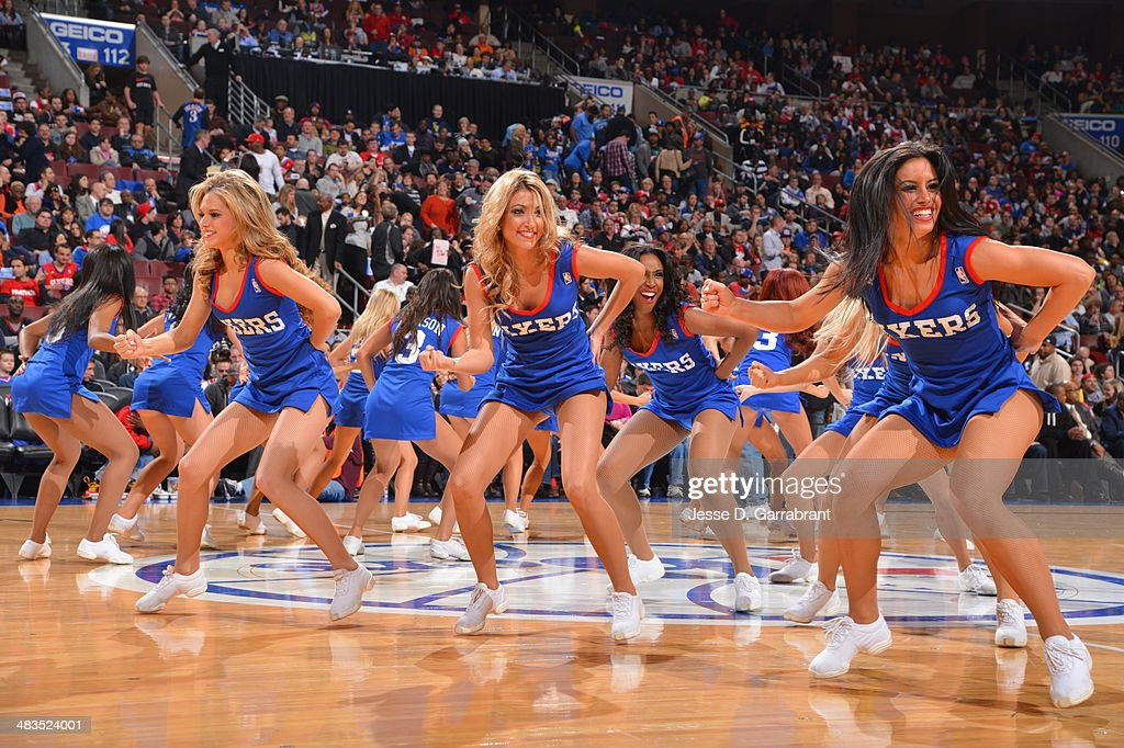 The Philadelphia 76ers dance team performs during the game against the Washington Wizards at the Wells Fargo Center March 1, 2014 in Philadelphia, Pennsylvania.