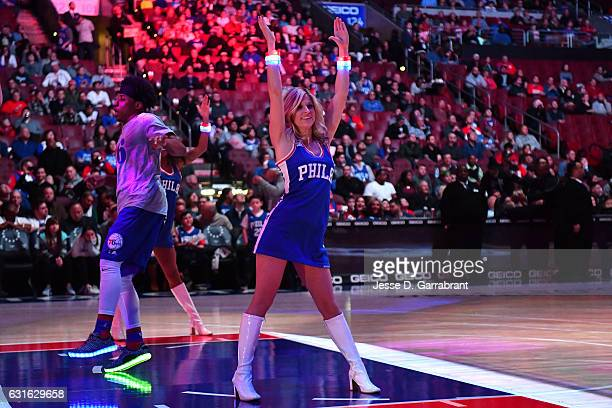 The Philadelphia 76ers dancers perform their routine before the game against the Charlotte Hornets on January 13 2017 at Wells Fargo Center in...